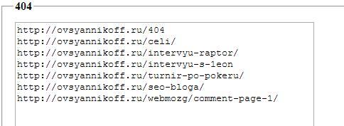 Ссылки с 404 ошибкой блога majornet.ru