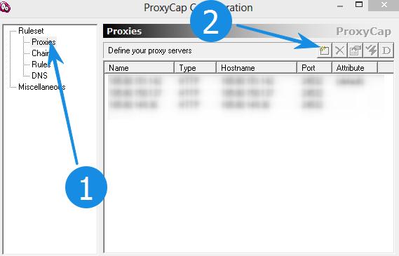 Добавление прокси в ProxyCap